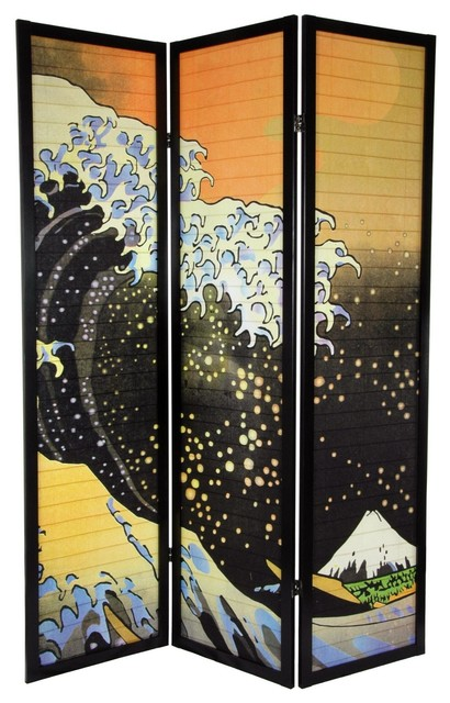 Fabulous Tall Japanese Wave Shoji Screen Panels With Asian Room Dividers.