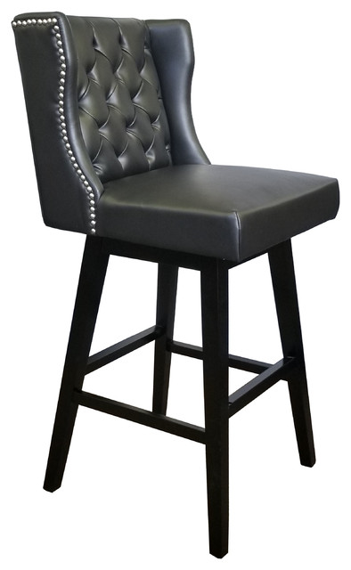 Superb Restaurant Quality Wingback Swivel Bar Stool With Brushed Silver Nailhead Black Short Links Chair Design For Home Short Linksinfo