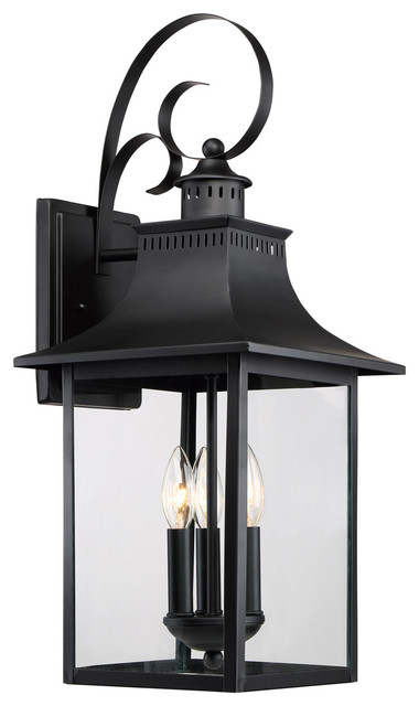 Quoizel Chancellor 23.5 3-Light Outdoor Wall Lantern, Mystic Black.