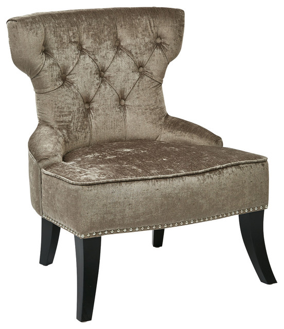 Ave Six Colton Button Tufted Chair, Otter