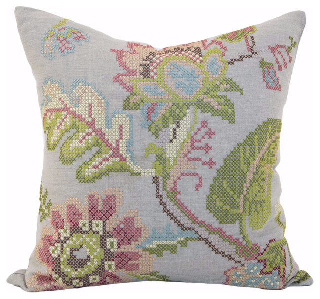 Modern Cross Stitch Pillow : Vintage Garden Cross Stitch Pillow Cover - Modern - Bedroom - Dallas - by Orchids America