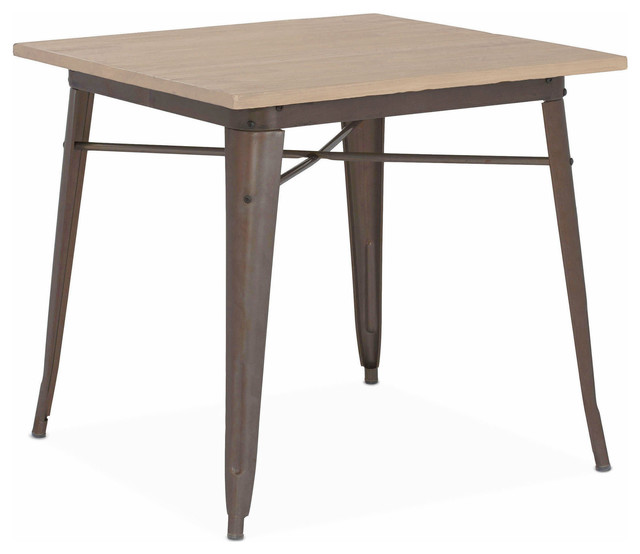 dreux clear gunmetal and light elm wood top steel dining