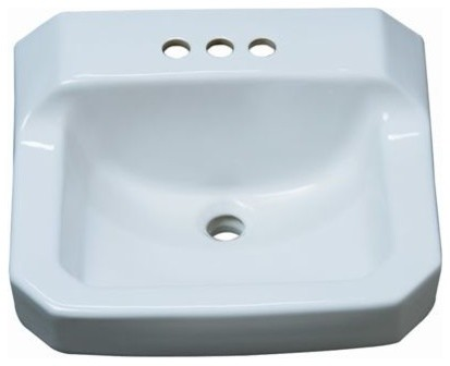 Proflo Pf5414 19-7/8 Wall Mounted Rectangular Bathroom Sink, White.
