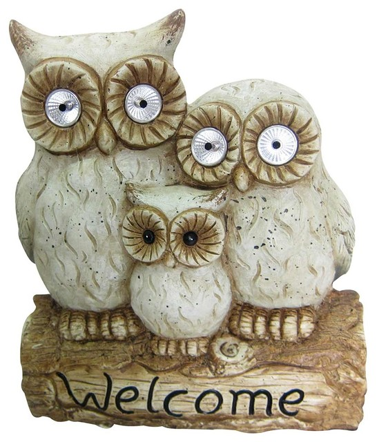 """Owl Outdoor Led Wall Pack: """"Welcome"""" Solar Owl Family Statue, 16"""""""