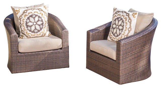GDF Studio Dillard Outdoor Mix Brown Wicker Swivel Club
