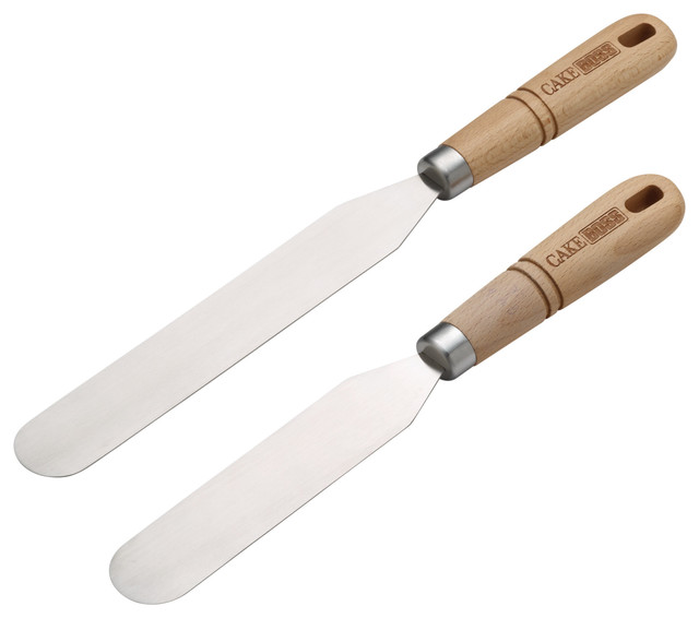 Cake Boss Wooden Tools And Gadgets 2-Piece Stainless Steel Icing Spatula Set.