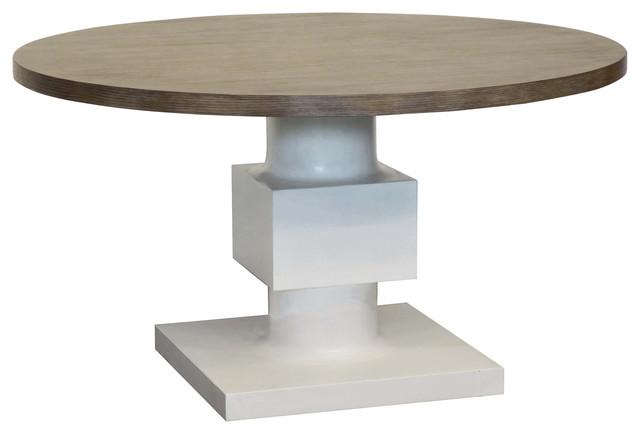 leonara coastal white pedestal rustic round wood dining table beachstyle