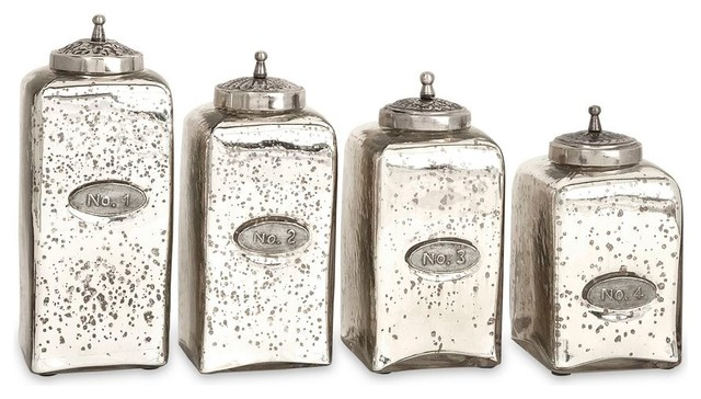 numbered mercury glass jars set of 4 traditional decorative jars and - Decorative Glass Jars