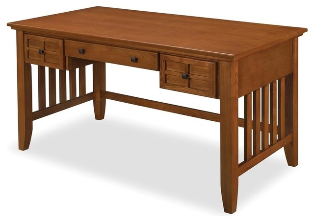 Lachlan Arts And Crafts Executive Desk, Cottage Oak.