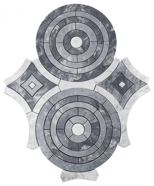 "Charisma Spin Waterjet 14.50""x11.88"" Marble Mosaic Tile,"