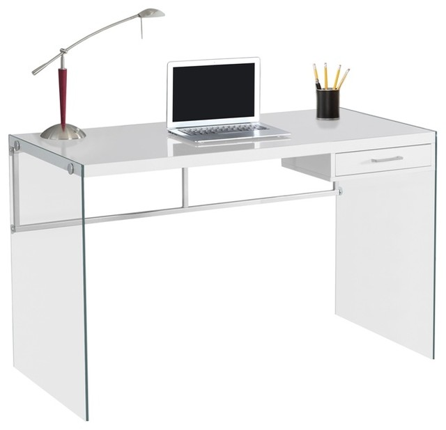 Glossy White Contemporary Clear Temper Glass Sleek Modern: Computer Desk, 48L/Glossy White/Tempered Glass