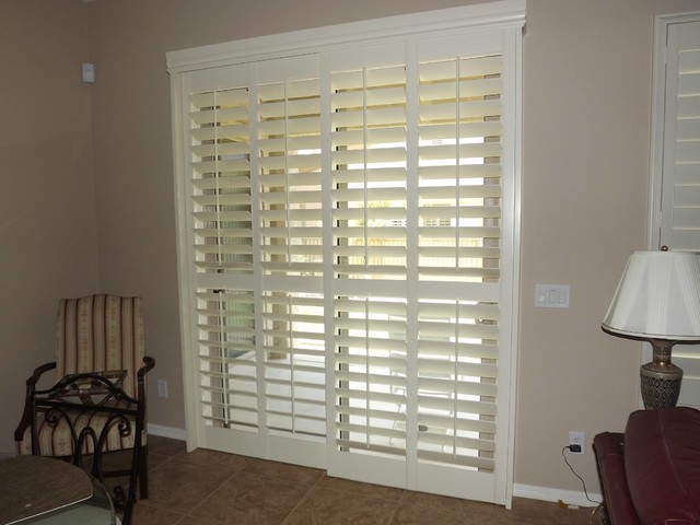 Amazing Plantation Shutters On Sliding Glass Doors Traditional