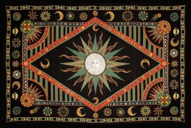 Celestial Sun Moon Star Tapestry Spread Green Orange Twin