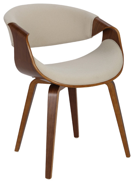 Lumisource Curvo Dining Chair, Walnut and Cream