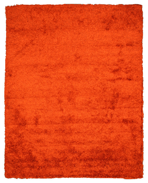 Hand woven wool and viscose orange and viscose shaggy rug for Contemporary wool area rugs