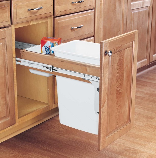 ordinary Kitchen Cabinet Garbage Drawer #3: Wood Classics Pull-Out Waste Container