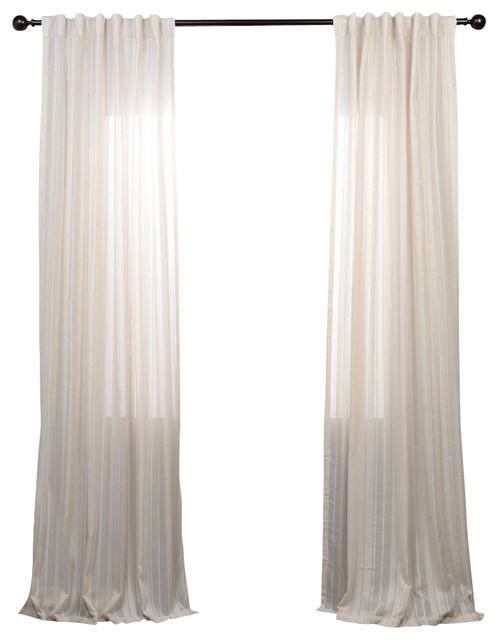 Cayman Stone Striped Linen Sheer Curtain Single Panel Ivory