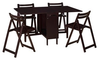 Superbe Linon Delany 5 Piece Space Saver Folding Dining Set With Self Storing Chairs    E