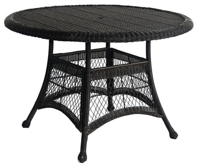 "Black Resin Wicker 44.5"" Outdoor Dining Patio Table With ..."