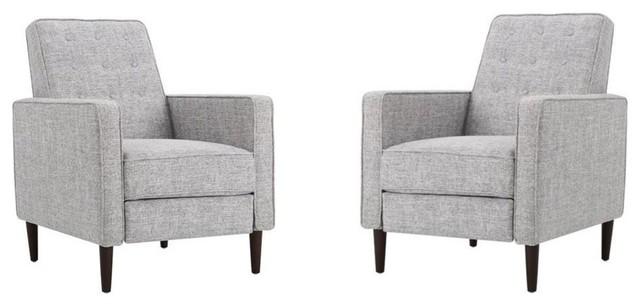 Phenomenal Gdf Studio Marston Fabric Recliner Light Gray Tweed Set Of 2 Machost Co Dining Chair Design Ideas Machostcouk
