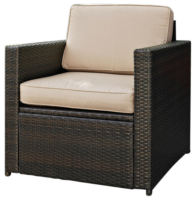 Palm Harbor Outdoor Wicker Arm Chair Brown With Gray Cushions Tropical Lounge Chairs By Crosley