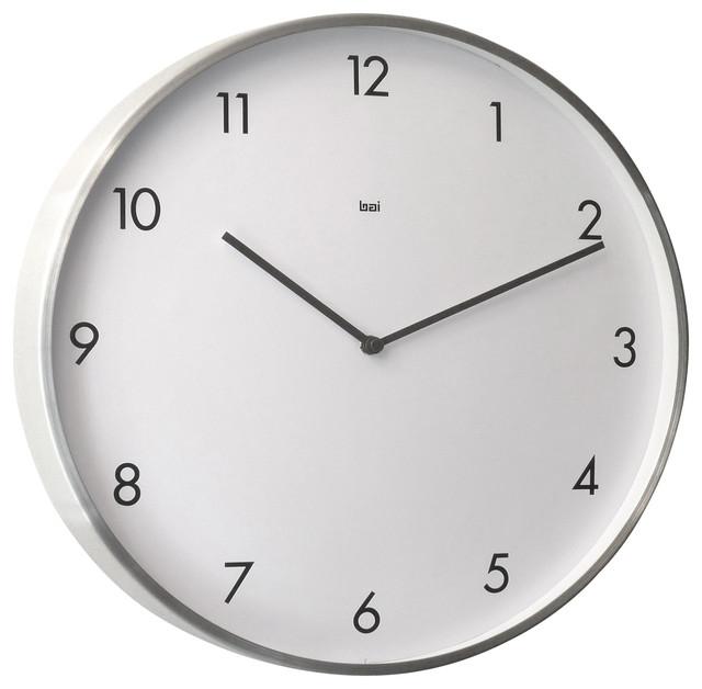 Futura Brushed Aluminum Designer Wall Clock - Wall Clocks ...