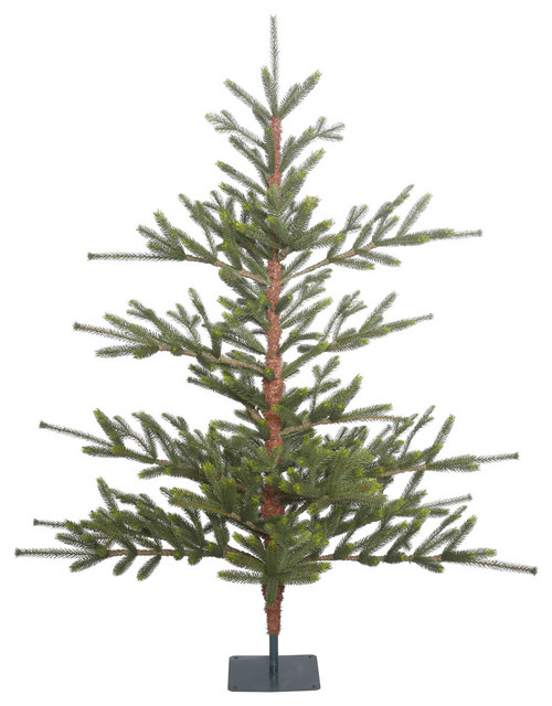 Bed Rock Pine Full Green Christmas Tree in Metal Stand, 5'x54""