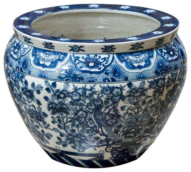 Blue And White Canton Porcelain Fishbowl Planter Asian Indoor