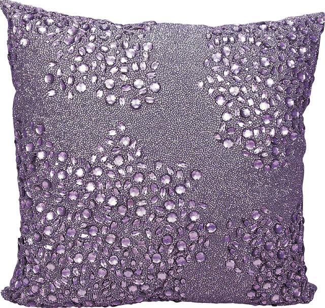 """Mina Victory Luminescence Fully Beaded Pillow, Lavender, 20""""x20"""""""