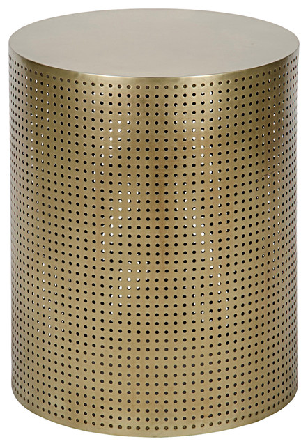 check out d4c7a 804b0 Orelia Modern Gold Brass Metal Mesh Drum Side Table - 20.5H