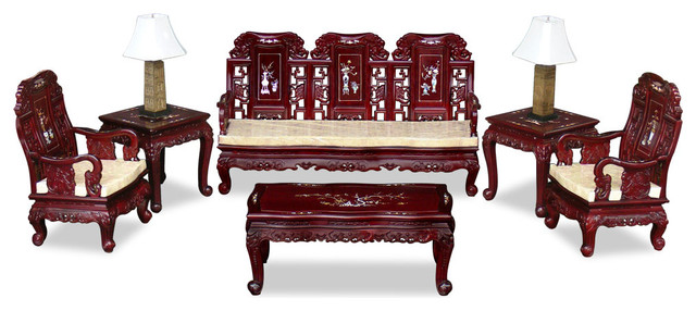 Chinese Rosewood Grand Imperial Elephant Living Room 6 Piece Set ...