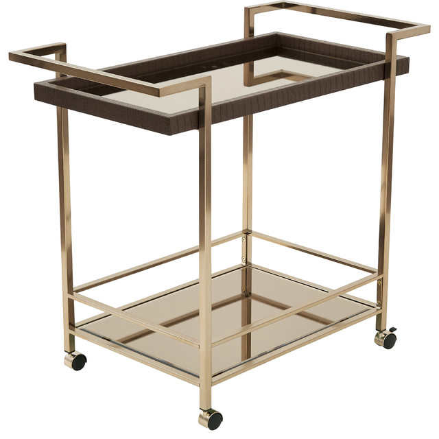 Isabella Wine Cart With Bronze Glass Top, Champagne Metal Frame