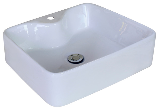 Above Counter Rectangle Vessel, White For Single Hole Faucet, 18.9x14.96.