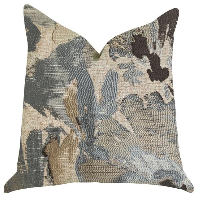 "Icy Blue Wildflower Luxury Throw Pillow, 18""x18""."