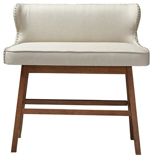 Gradisca Light Beige Fabric Button-Tufted Upholstered Bar Bench Banquette.