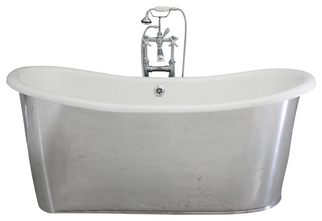 The Westminster 68 Cast Iron French Bateau Tub With Drain by Penhaglion
