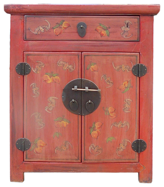 Chinese Distressed Orange Bat Peach Graphic Side Table Nightstand  Asian Nightstands And Bedside