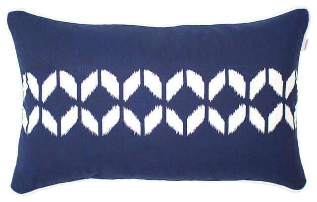 Ikat Stripe Rectangular Scatter Cushion, Royal Blue