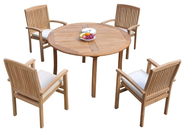 52 Round Table.5 Piece Outdoor Teak Dining Set 52 Round Table 4 Wave Stacking Arm Chairs