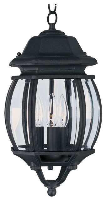 Maxim Crown Hill Three Light Black Clear Glass Hanging Lantern
