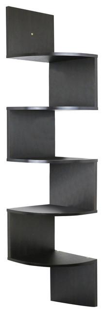 5 Tier Wall Mount Corner Shelves Espresso