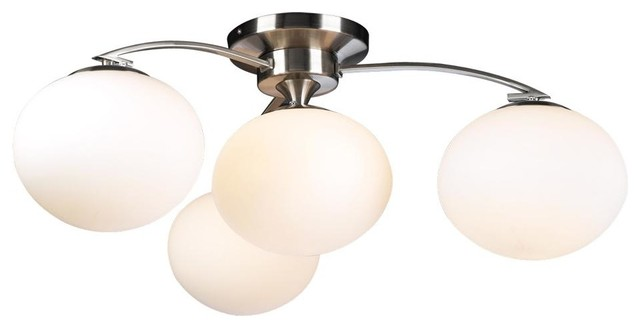 Plc 4-Light Ceiling Light Aosta Collection 7228 Sn, Satin Nickel.
