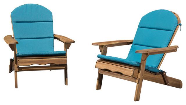 GDF Studio Amenda Outdoor Acacia Adirondack Chairs With Cushions, Set of 2