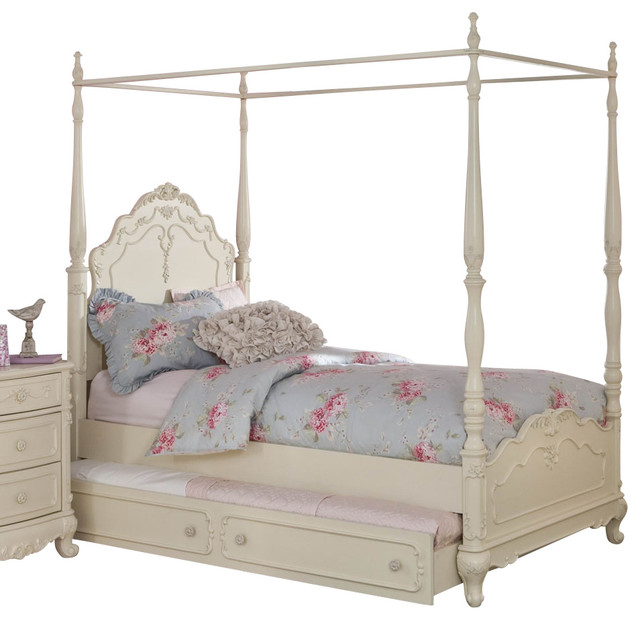 Homelegance Cinderella Canopy Poster Bed In Antique White Twin With Trundle