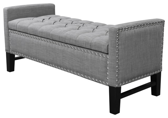 Exceptionnel Grace Linen Button Tufted With Silver Nailhead Trim Storage Bench, Light  Gray