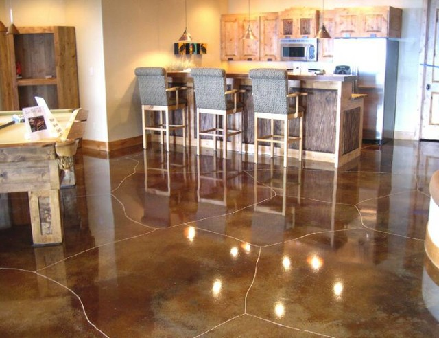 Concrete Staining Scoring And Engraving Rustic Basement Salt Lake City By Ky Kan Coatings