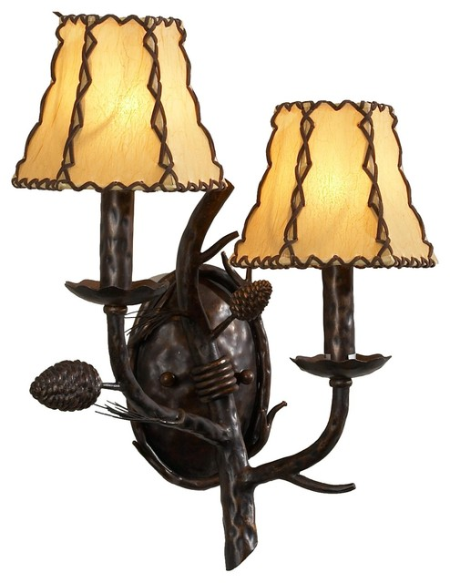 2 Light Standard Bulb Wall Sconce, Old Bronze - Rustic - Wall Sconces - by 1800Lighting