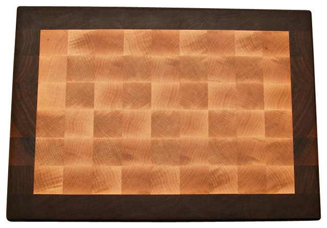end grain maple with walnut cutting border  traditional  cutting,