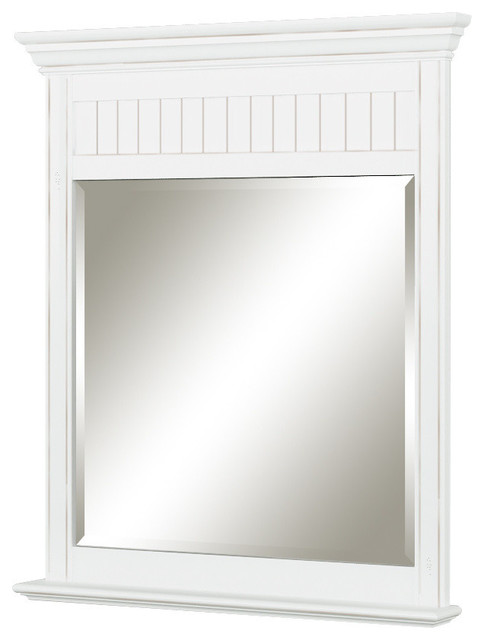 Charmant Cottage Retreat Mirror, Antique White Beach Style Bathroom Mirrors
