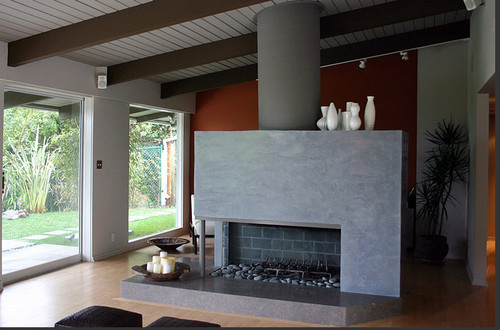 This contemporary, modern, Zen living room with painted white ...